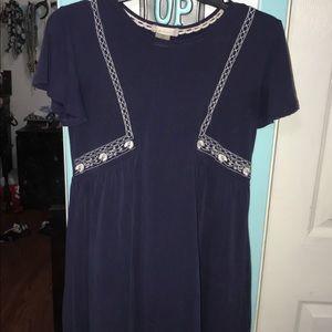 Blue with white stitching dress